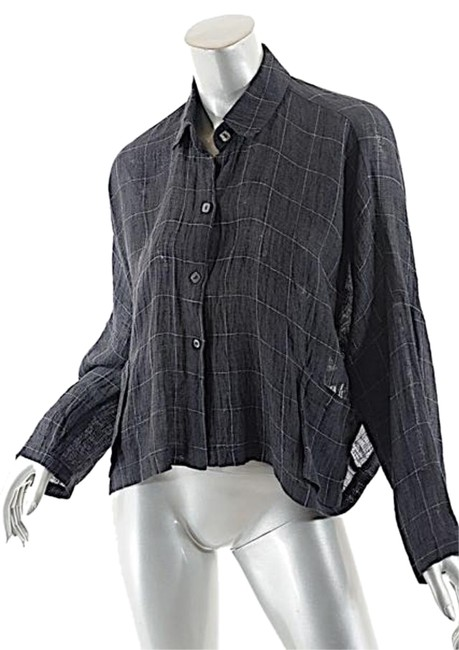 Item - Grey Graphite Linen Blend Windowpane Crop Shirt Jacket Blouse Size 10 (M)