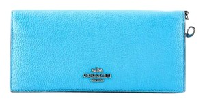 Coach * Coach NWT Azure Navy Colorblock Leather Slim Wallet Phone