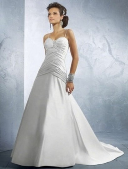 Alfred Angelo Ivory Satin 2175c Formal Wedding Dress Size 16 (XL, Plus 0x)