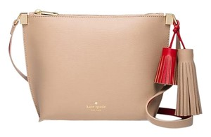 Kate Spade Leather Tan Red Gold Cross Body Bag