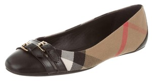 Burberry Canvas Nova Check Round Toe Black, Beige Flats