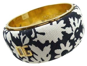 Dolce&Gabbana Black & White Floral Fabric Bangle Bracelet
