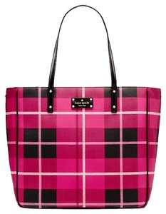 Kate Spade Leather Red Black New With Tags Sidney Tote in Plaid