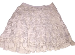 Max Studio Flower Lace Cream Mini Skirt Cream/Off White