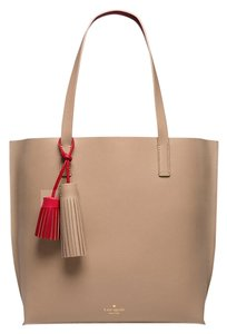 Kate Spade Leather Tan Red Tasha Tote in Affogato/Red