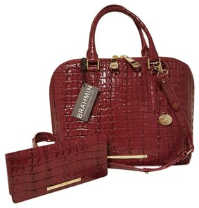 Brahmin Vivian Ady Wallet Leather Satchel in BOYSENBERRY