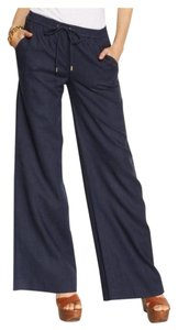 Michael Kors Wide Leg Pants Washed Indigo Navy Blue