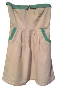COPE short dress White with Teal detail Mini Strapless Urban Outfitters Linen on Tradesy