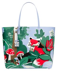 Kate Spade Leather Blue Red Green Tote in Foxy Forest Scene