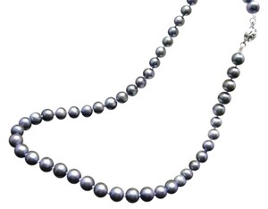 Unique Vintage Gorgeous Rare Genuine Natural Black Tahitian Pearl Necklace AAA 8-9mm
