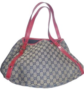 Gucci Extra Size Or Tote Equestrian Accents Excellent Vintage Satchel in red leather and navy blue large G logo print