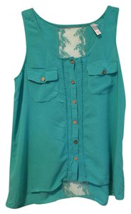 Xhilaration Sleeveless Lace Sheer Top Teal