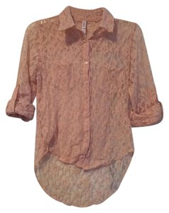 Xhilaration Lace Button Down Button Down Shirt Light Pink