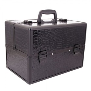 Other Black Faux Croc Luggage Train Case Makeup Kit with Keys