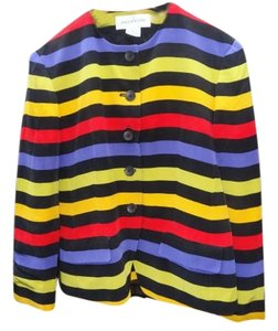 Jones New York 100% Silk Fully Lined Striped Multi color Jacket
