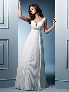 Alfred Angelo Ivory Satin 755 Formal Wedding Dress Size 8 (M)