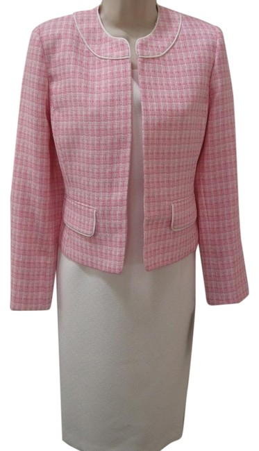 Item - Pink White Sheath Jacket Mid-length Work/Office Dress Size Petite 8 (M)