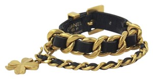 Chanel Gold Chain Black Leather Bracelet Buckle Four Leaf Clover Charm