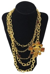 Chanel Gold Necklace Multiple Chain Amber Gripoix CC Charm