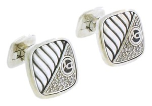 David Yurman David Yurman I Silver Square Half Diamond Cable Logo Cufflinks