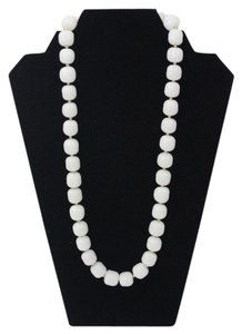 Chanel Vintage White Glass Bead Strand Necklace 26