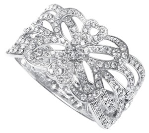 Mariell Crystal Scroll Bridal Cuff Bracelet