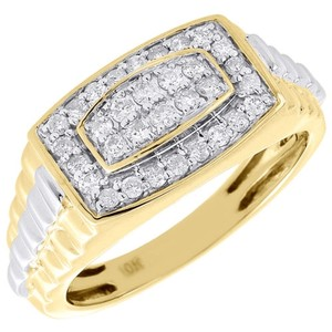 Other Diamond Wedding Band Mens 10k Two Tone Gold Round Anniversary Ring 12 Tcw.
