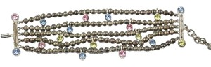 Chanel Bracelet Silver Beaded Multi Colored Crystals Signed