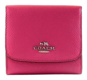 Coach 53716 Dahlia Pink Crossgrain Leather Flap Small Trifold Wallet