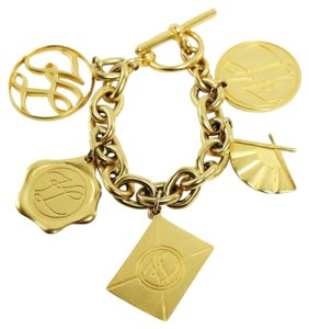Chanel Gold Tone Bold Chain Charm Bracelet Signed