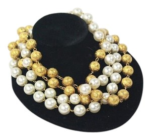 Chanel Gold Tone and Faux Pearl Necklace Multi Strand Choker 1990