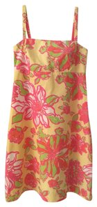 Lilly Pulitzer short dress yellow A-line Floral Pink Green on Tradesy