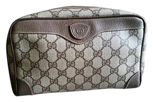 Gucci Vintage Brown Gucci Clutch Toiletries Cosmetic