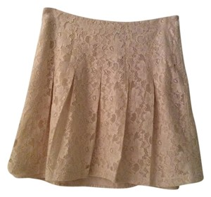 Kensie Lace Pleated Mini Skirt Cream