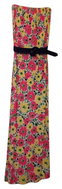 Item - Pink Yellow and Navy Strapless Long Casual Maxi Dress Size 12 (L)
