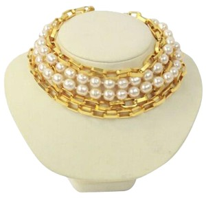 Chanel Choker Necklace Faux Pearl Gold Tone 5 Strands