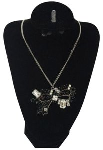 Chanel Silver Necklace Black & Clear Crystal Bow CC Signature