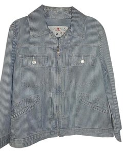 Lauren Ralph Lauren Jean Denim Zip Front blue white stripe Womens Jean Jacket