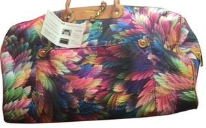 Adrienne Vittadini Colorful Large Zipper Feather Multi Travel Bag