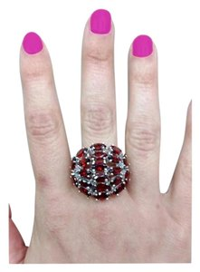 Unique Vintage Vintage Dome Ring 10 cts of Sparkling Red Garnets 925 Sterling Silver