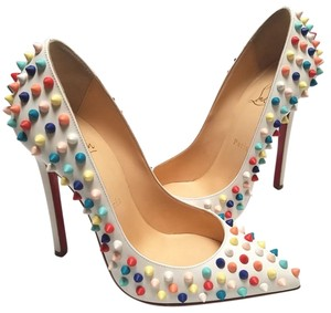 Christian Louboutin Pointed Toe Leather White/Multi color spikes Pumps