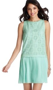 Ann Taylor LOFT short dress Mint Eyelet Pleated on Tradesy