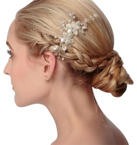 Other Wedding Hair Comb flower ivory white crystal bling rhinestone