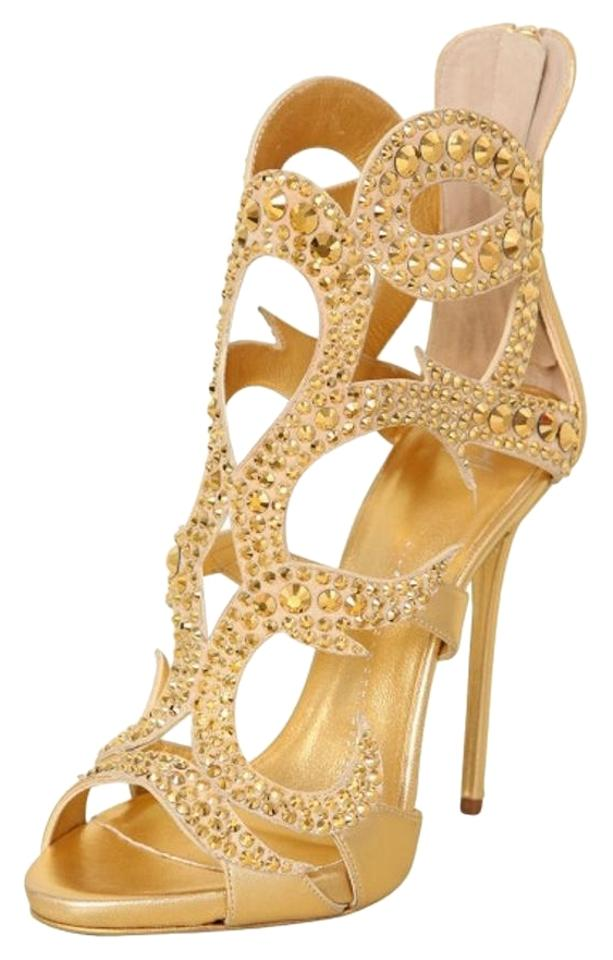 48041ab99df9 Giuseppe Zanotti Gold Crystal-embellished Metallic Leather Sandals ...