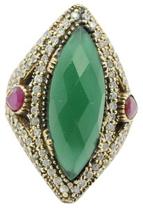 Turkish Exceptional! New Emerald, Cz, Ruby 925 Sterling Silver Turkish Ring!!