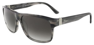 Salvatore Ferragamo Salvatore Ferragamo Stiped Grey Wayfarer Sunglasses