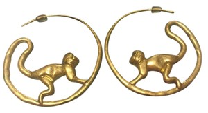 Tory Burch Rare NWOT Monkey Hoop Earrings with Dust Bag & Gift Box