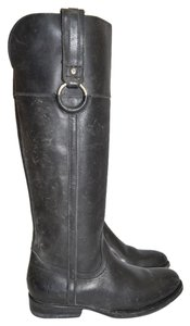 Frye Moto Riding Combat BLACK DISTRESSED LEATHER Boots