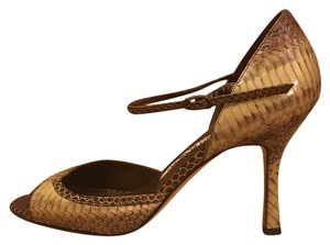 Manolo Blahnik Manolo Snakeskin Stiletto Brown Formal