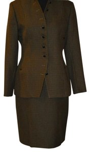 NYP Skirt Suit by NYP in Olive, Burgundy, and Black